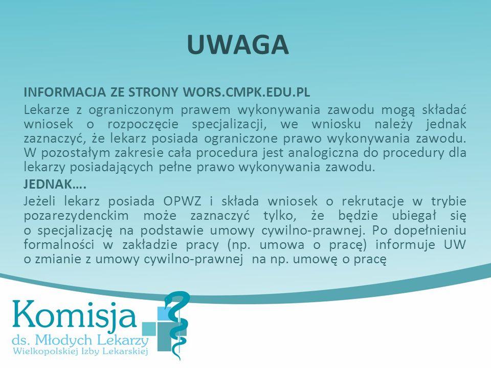 UWAGA INFORMACJA ZE STRONY WORS.CMPK.EDU.PL.