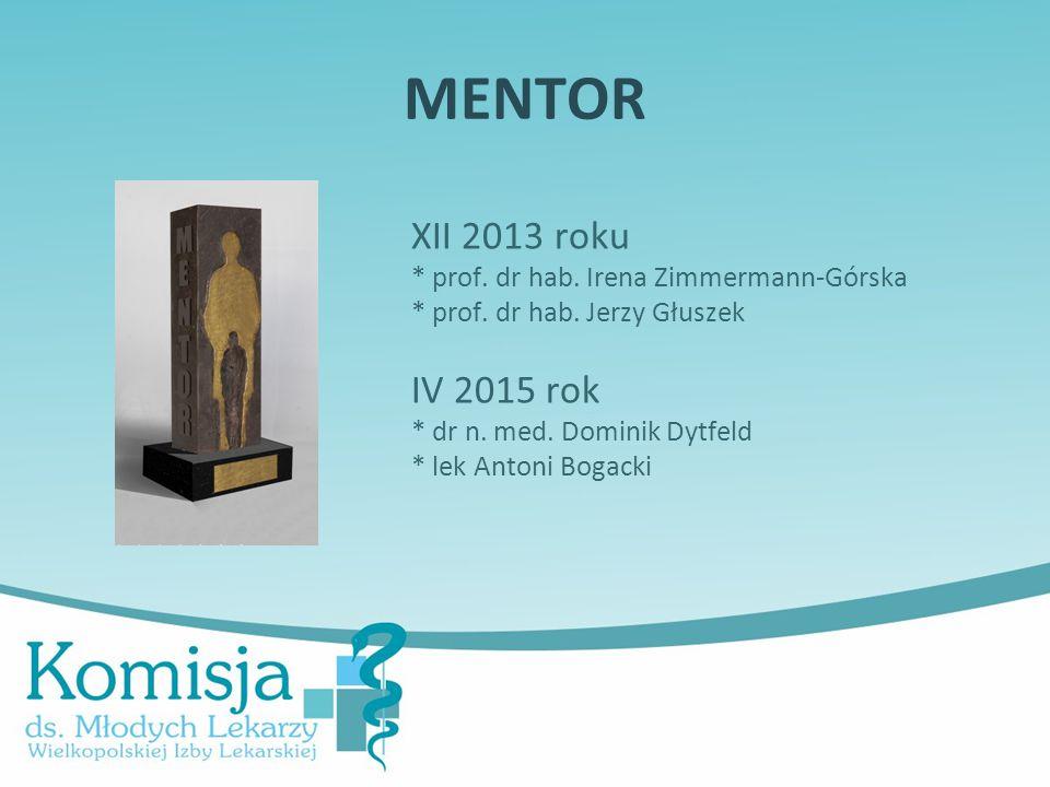 MENTOR XII 2013 roku * prof. dr hab. Irena Zimmermann-Górska