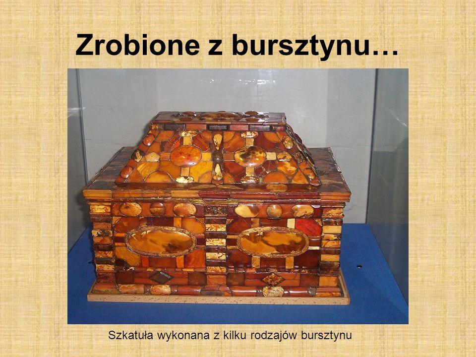 Szkatuła wykonana z kilku rodzajów bursztynu