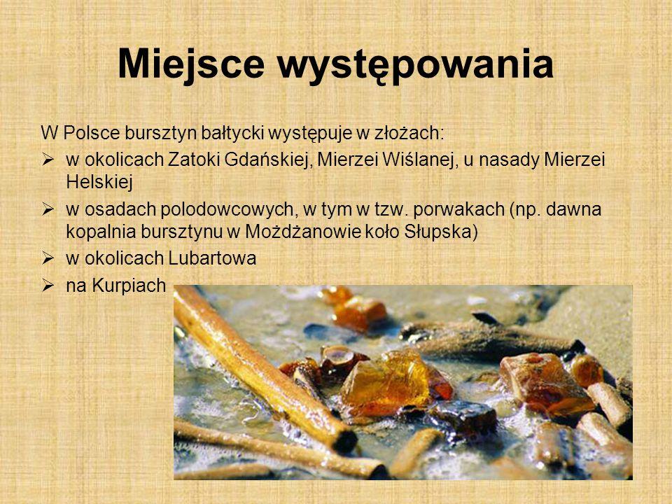 Miejsce występowania W Polsce bursztyn bałtycki występuje w złożach: