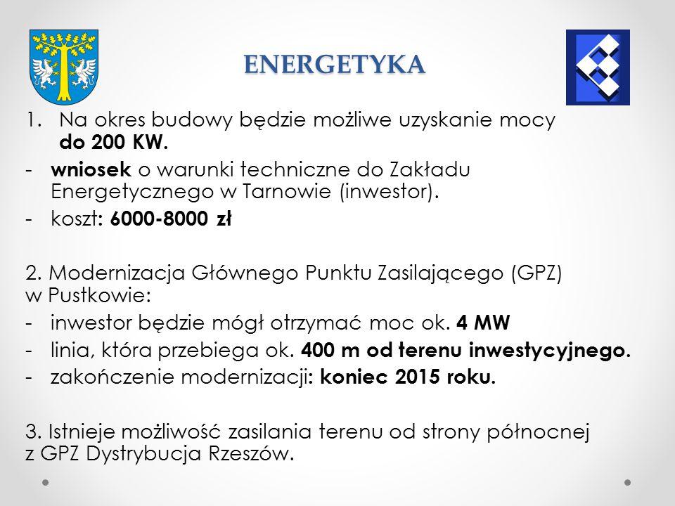 ENERGETYKA Na okres budowy będzie możliwe uzyskanie mocy do 200 KW.