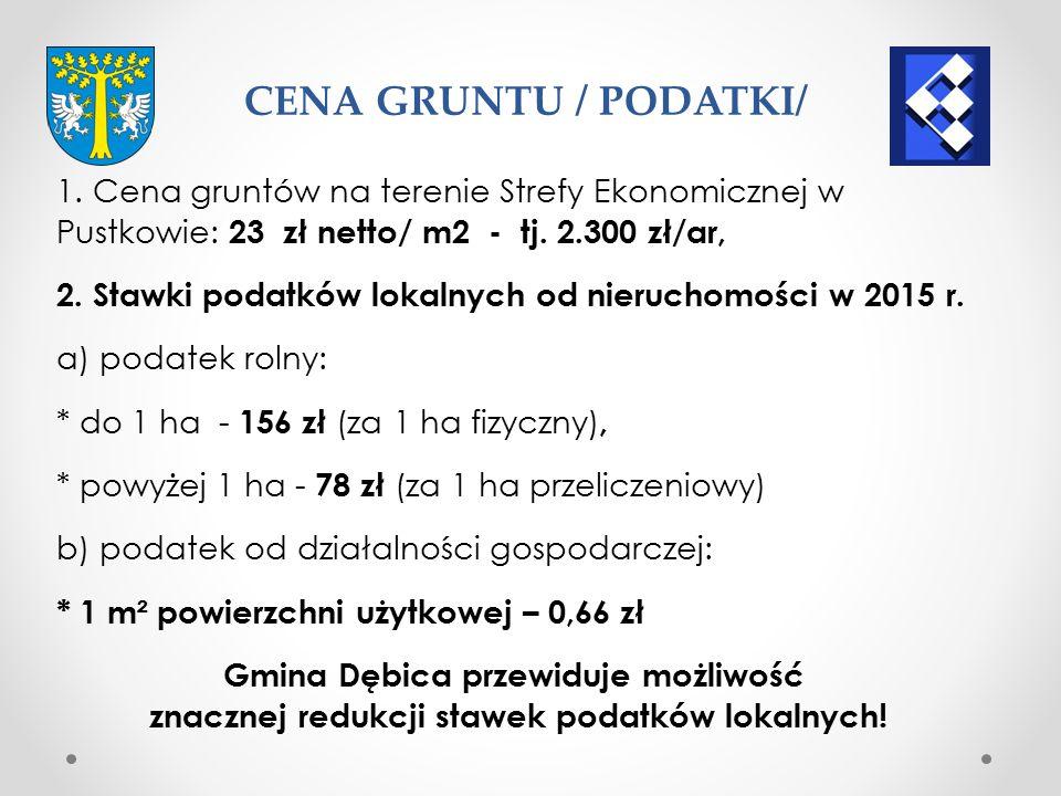 CENA GRUNTU / PODATKI/ 1. Cena gruntów na terenie Strefy Ekonomicznej w Pustkowie: 23 zł netto/ m2 - tj. 2.300 zł/ar,