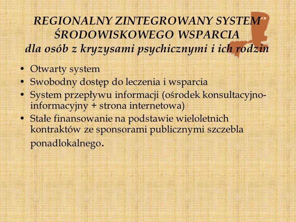 REGIONALNY ZINTEGROWANY SYSTEM ŚRODOWISKOWEGO WSPARCIA dla osób z kryzysami psychicznymi i ich rodzin