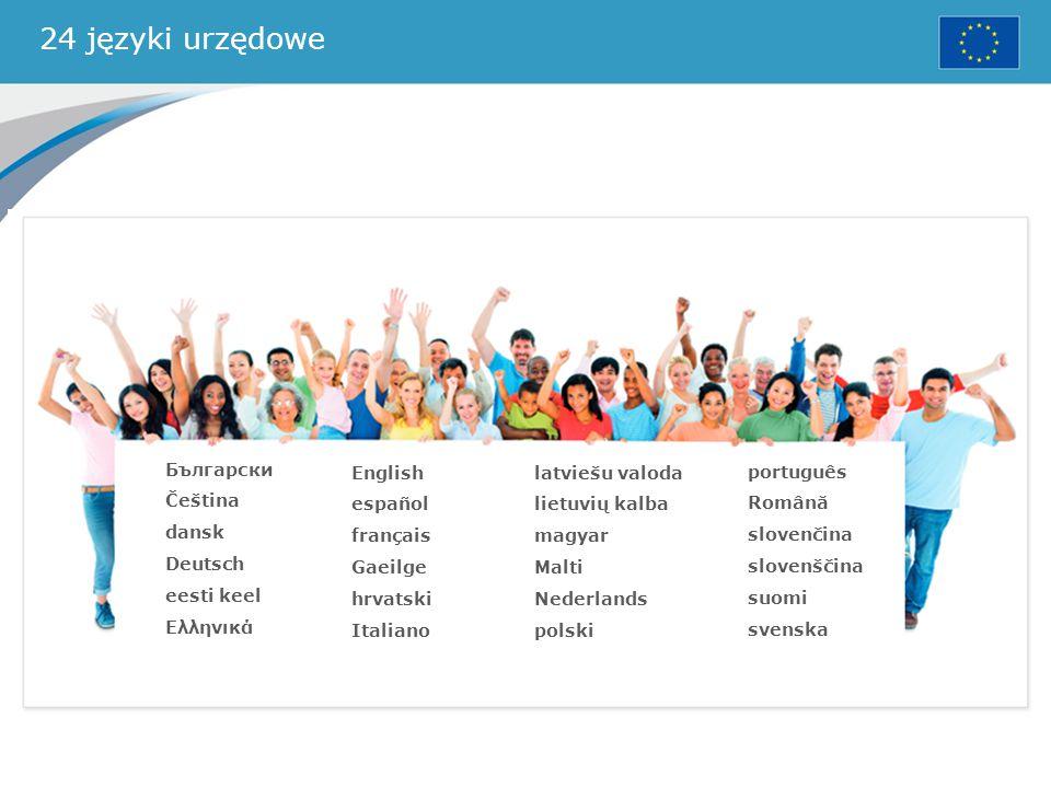 24 języki urzędowe Български Čeština dansk Deutsch eesti keel Ελληνικά