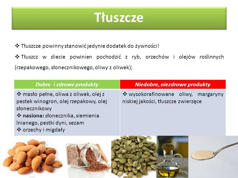 Dobre i zdrowe produkty Niedobre, niezdrowe produkty