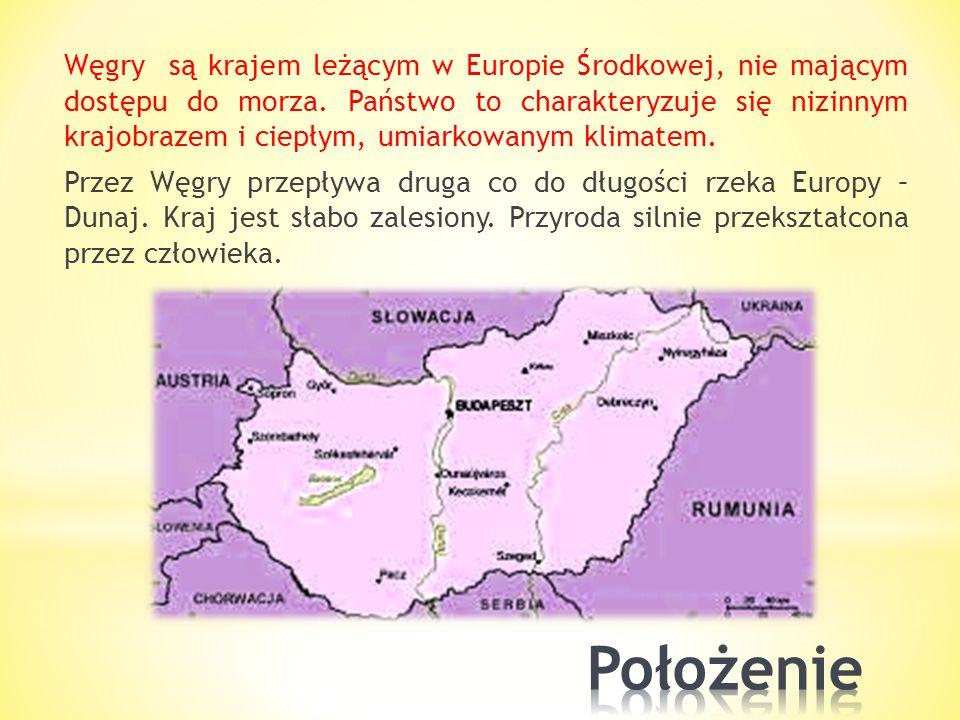 Węgry są krajem leżącym w Europie Środkowej, nie mającym dostępu do morza. Państwo to charakteryzuje się nizinnym krajobrazem i ciepłym, umiarkowanym klimatem. Przez Węgry przepływa druga co do długości rzeka Europy – Dunaj. Kraj jest słabo zalesiony. Przyroda silnie przekształcona przez człowieka.