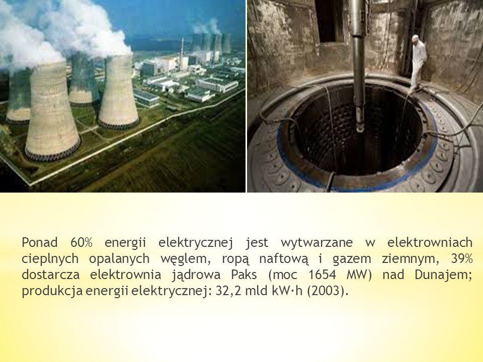 Ponad 60% energii elektrycznej jest wytwarzane w elektrowniach cieplnych opalanych węglem, ropą naftową i gazem ziemnym, 39% dostarcza elektrownia jądrowa Paks (moc 1654 MW) nad Dunajem; produkcja energii elektrycznej: 32,2 mld kW·h (2003).