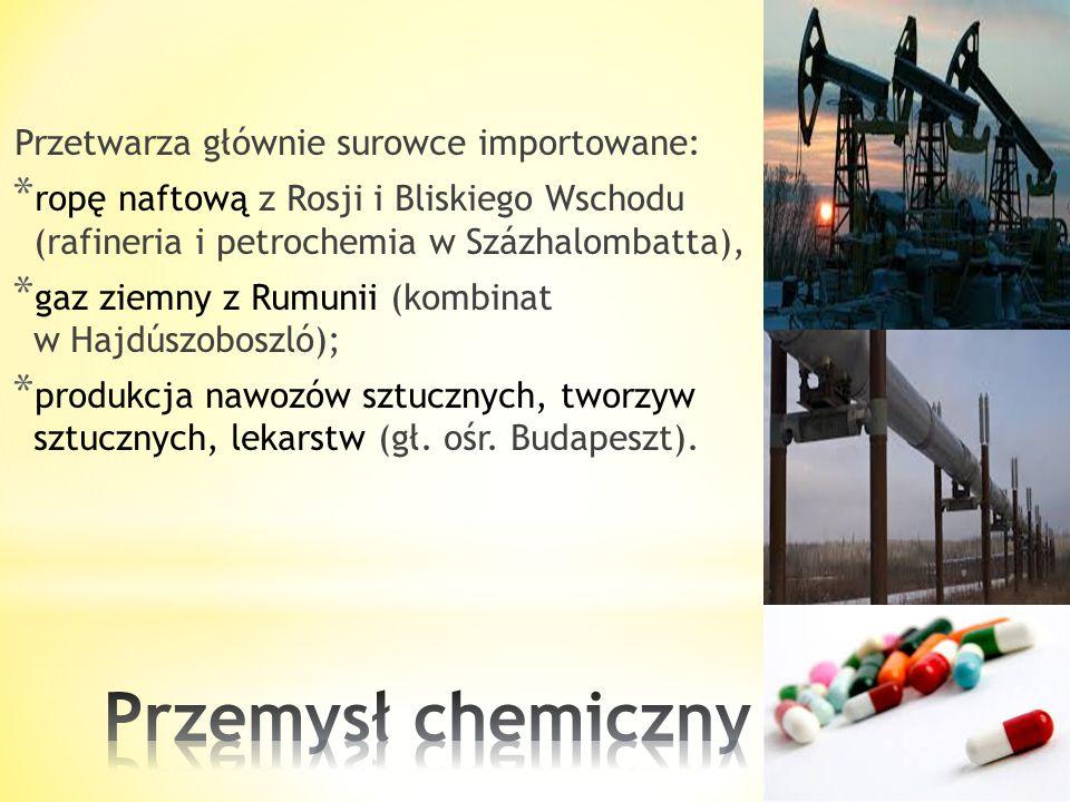 Przemysł chemiczny Przetwarza głównie surowce importowane:
