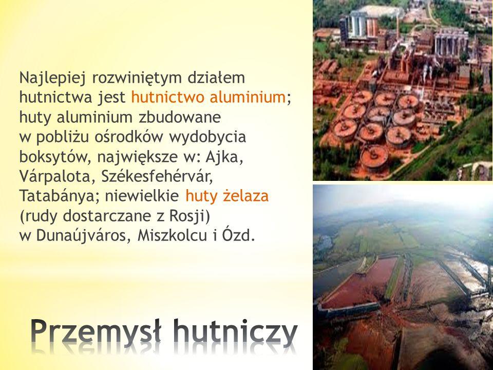 Najlepiej rozwiniętym działem hutnictwa jest hutnictwo aluminium; huty aluminium zbudowane w pobliżu ośrodków wydobycia boksytów, największe w: Ajka, Várpalota, Székesfehérvár, Tatabánya; niewielkie huty żelaza (rudy dostarczane z Rosji) w Dunaújváros, Miszkolcu i Ózd.