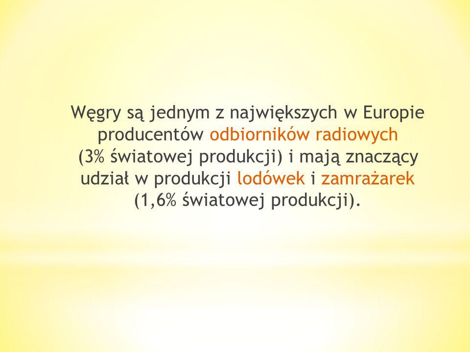 Węgry są jednym z największych w Europie producentów odbiorników radiowych (3% światowej produkcji) i mają znaczący udział w produkcji lodówek i zamrażarek (1,6% światowej produkcji).