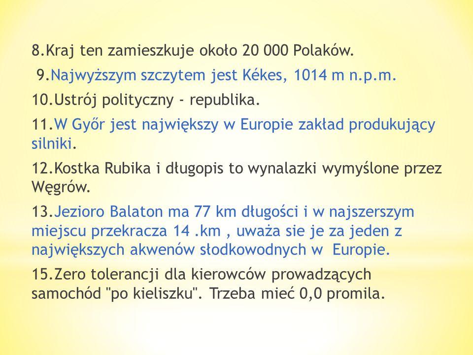 8. Kraj ten zamieszkuje około 20 000 Polaków. 9