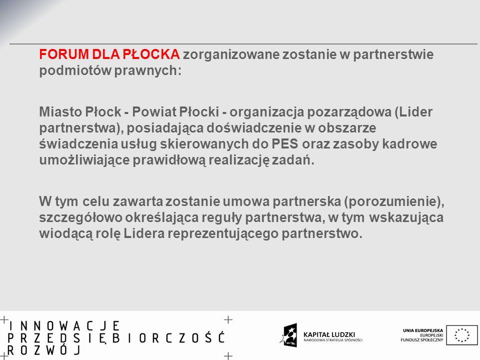 FORUM DLA PŁOCKA zorganizowane zostanie w partnerstwie podmiotów prawnych: Miasto Płock - Powiat Płocki - organizacja pozarządowa (Lider partnerstwa), posiadająca doświadczenie w obszarze świadczenia usług skierowanych do PES oraz zasoby kadrowe umożliwiające prawidłową realizację zadań.