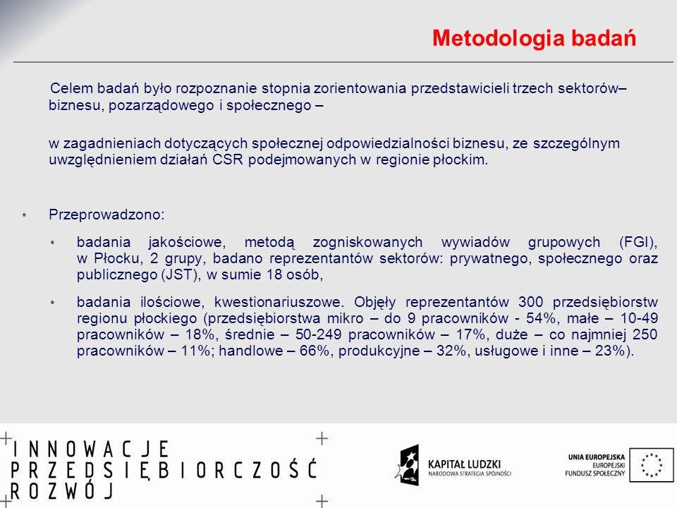Metodologia badań Celem badań było rozpoznanie stopnia zorientowania przedstawicieli trzech sektorów– biznesu, pozarządowego i społecznego –