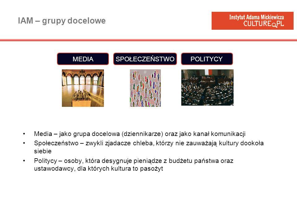 IAM – grupy docelowe MEDIA SPOŁECZEŃSTWO POLITYCY