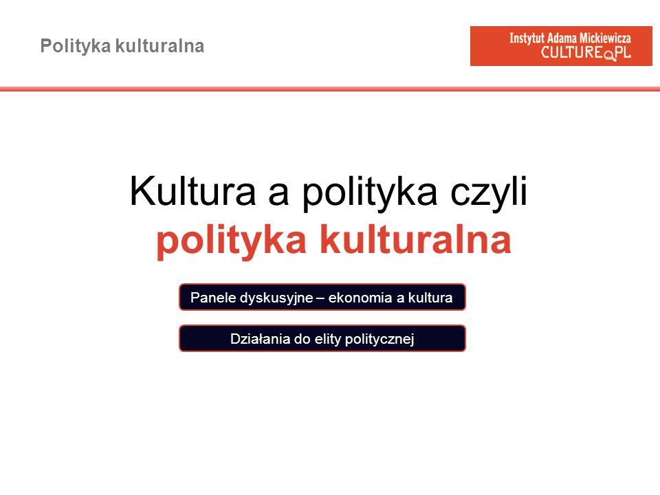 Kultura a polityka czyli polityka kulturalna