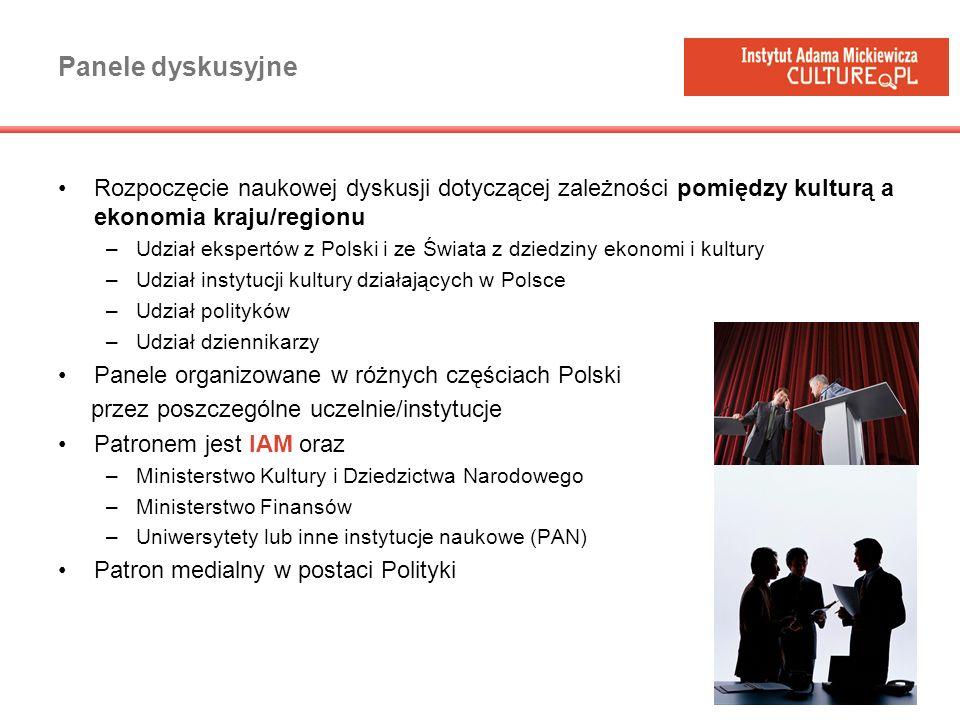 Panele dyskusyjne Rozpoczęcie naukowej dyskusji dotyczącej zależności pomiędzy kulturą a ekonomia kraju/regionu.