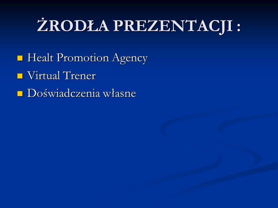 ŻRODŁA PREZENTACJI : Healt Promotion Agency Virtual Trener
