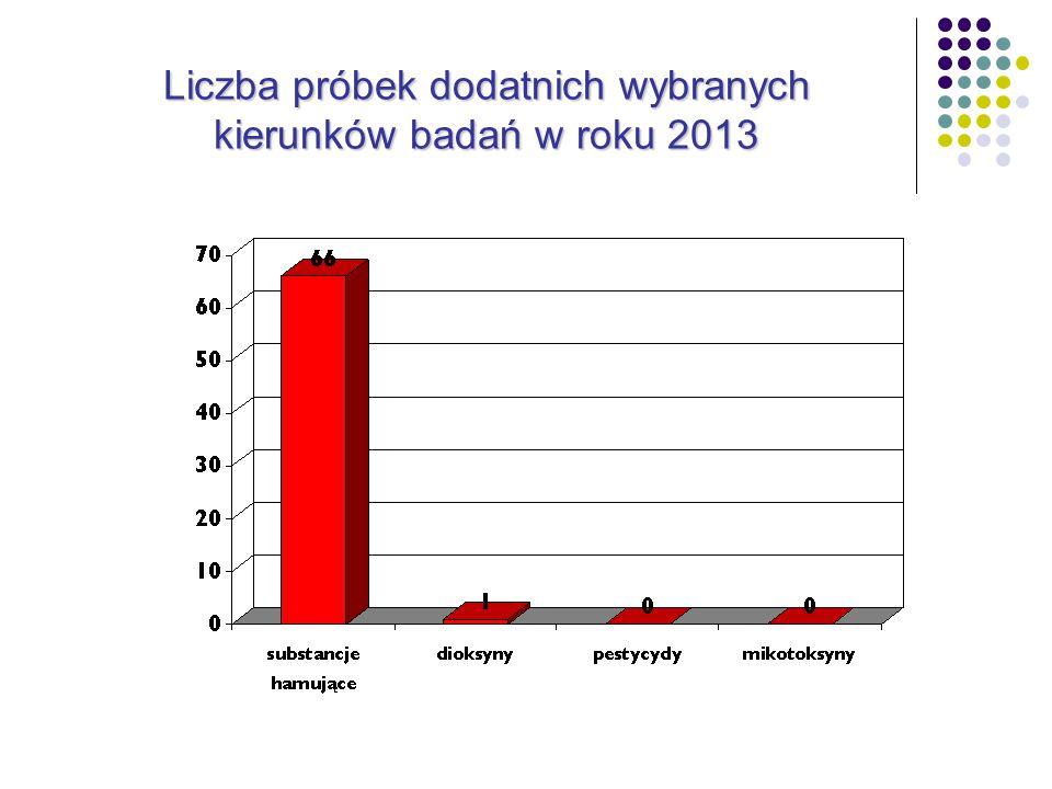 Liczba próbek dodatnich wybranych kierunków badań w roku 2013