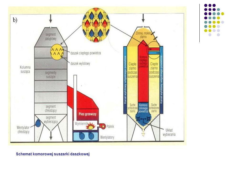 Schemat komorowej suszarki daszkowej