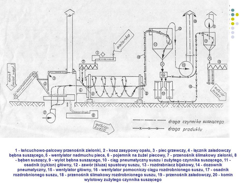 1 - łańcuchowo-palcowy przenośnik zielonki, 2 - kosz zasypowy opału, 3 - piec grzewczy, 4 - łącznik załadowczy bębna suszącego, 5 - wentylator nadmuchu pieca, 6 - pojemnik na żużel piecowy, 7 - przenośnik ślimakowy zielonki, 8 - bęben suszący, 9 - wylot bębna suszącego, 10 - ciąg pneumatyczny suszu i zużytego czynnika suszącego, 11 - osadnik (cyklon) główny, 12 - zawór (śluza) spustowy suszu, 13 - rozdrabniacz bijakowy, 14 - dozownik pneumatyczny, 15 - wentylator główny, 16 - wentylator pomocniczy ciągu rozdrobnionego suszu, 17 - osadnik rozdrobnionego suszu, 18 - przenośnik ślimakowy rozdrobnionego suszu, 19 - przenośnik załadowczy, 20 - komin wylotowy zużytego czynnika suszącego