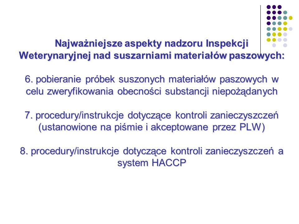 Najważniejsze aspekty nadzoru Inspekcji Weterynaryjnej nad suszarniami materiałów paszowych: 6.