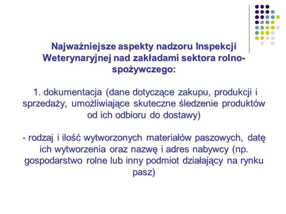 Najważniejsze aspekty nadzoru Inspekcji Weterynaryjnej nad zakładami sektora rolno-spożywczego: 1.