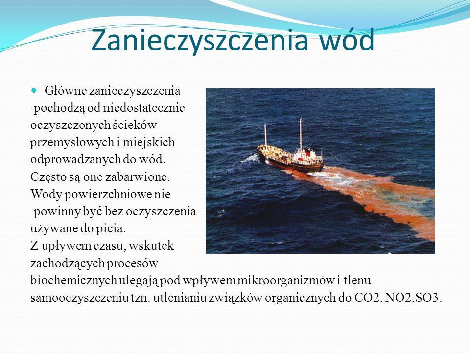 Zanieczyszczenia wód Główne zanieczyszczenia