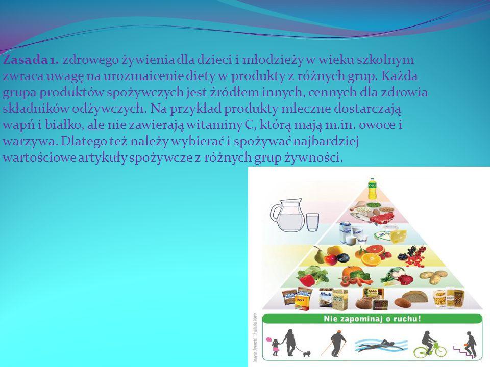 Zasada 1. zdrowego żywienia dla dzieci i młodzieży w wieku szkolnym zwraca uwagę na urozmaicenie diety w produkty z różnych grup.