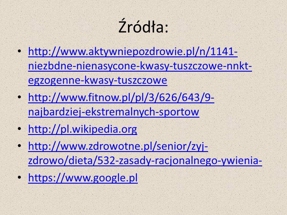 Źródła: http://www.aktywniepozdrowie.pl/n/1141-niezbdne-nienasycone-kwasy-tuszczowe-nnkt-egzogenne-kwasy-tuszczowe.