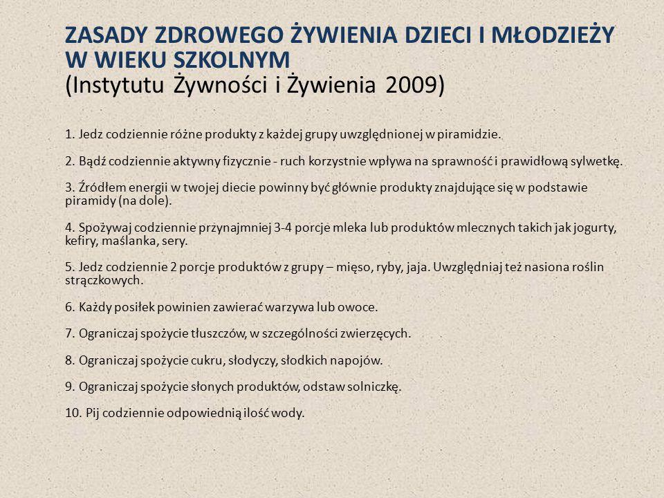 ZASADY ZDROWEGO ŻYWIENIA DZIECI I MŁODZIEŻY W WIEKU SZKOLNYM (Instytutu Żywności i Żywienia 2009)