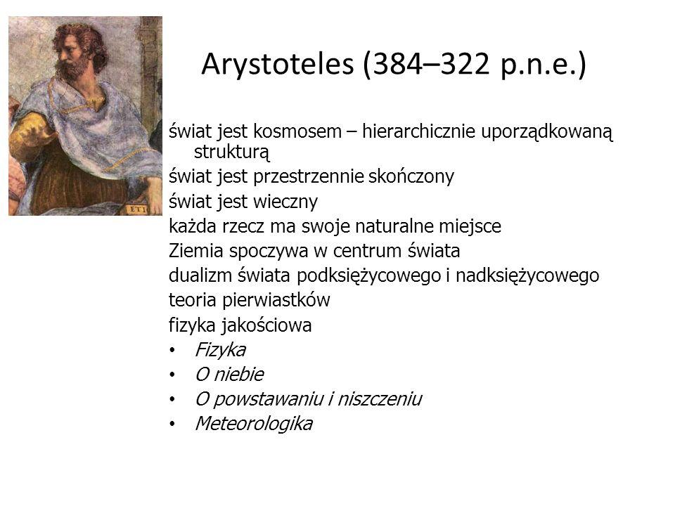 Arystoteles (384–322 p.n.e.)świat jest kosmosem – hierarchicznie uporządkowaną strukturą. świat jest przestrzennie skończony.