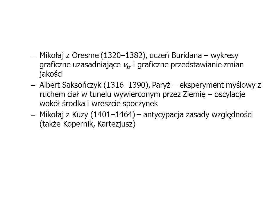 Mikołaj z Oresme (1320–1382), uczeń Buridana – wykresy graficzne uzasadniające vśr i graficzne przedstawianie zmian jakości
