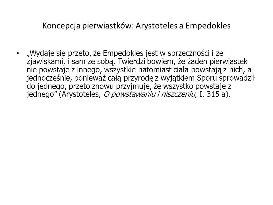 Koncepcja pierwiastków: Arystoteles a Empedokles