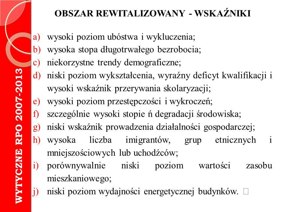 OBSZAR REWITALIZOWANY - WSKAŹNIKI