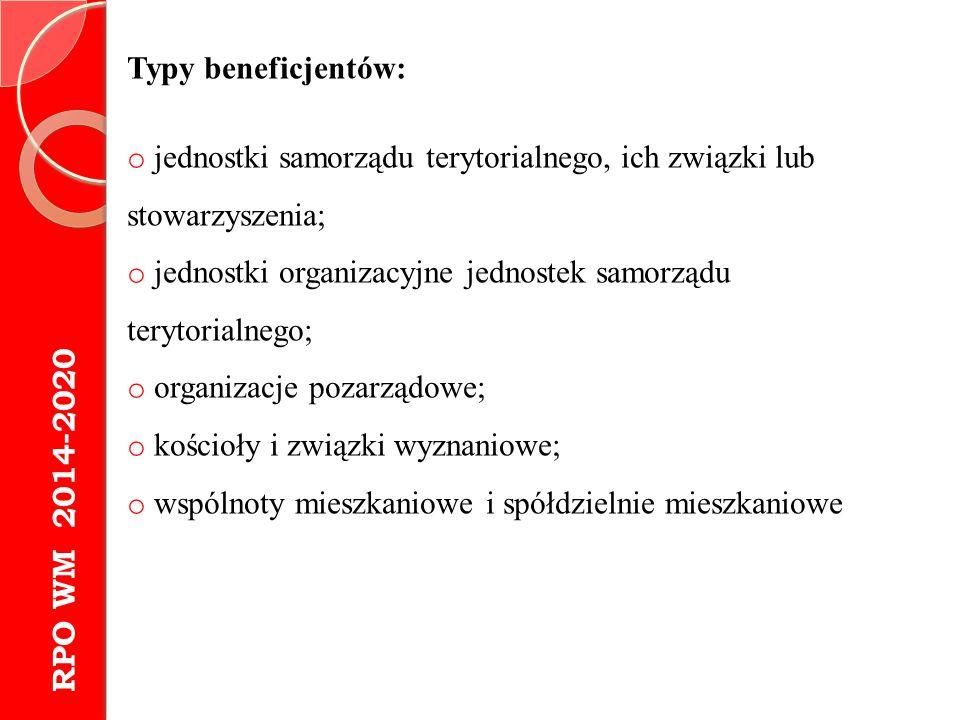 Typy beneficjentów: jednostki samorządu terytorialnego, ich związki lub stowarzyszenia; jednostki organizacyjne jednostek samorządu terytorialnego;