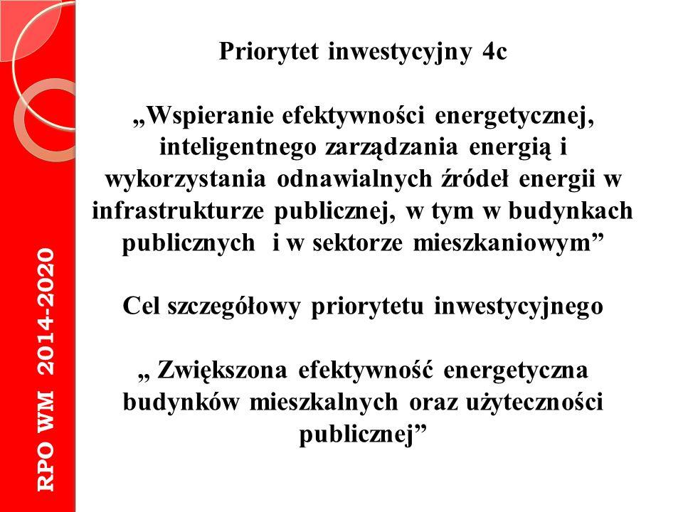 Priorytet inwestycyjny 4c Cel szczegółowy priorytetu inwestycyjnego