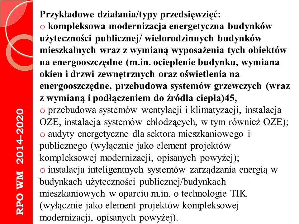 Przykładowe działania/typy przedsięwzięć: