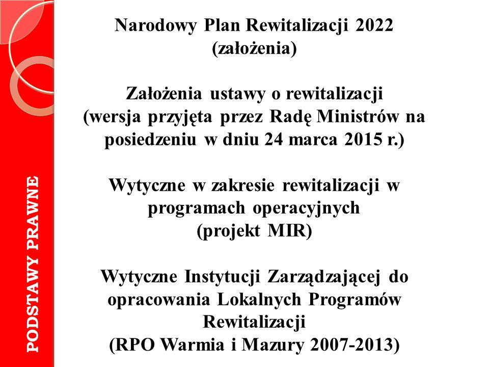 Narodowy Plan Rewitalizacji 2022 (założenia)