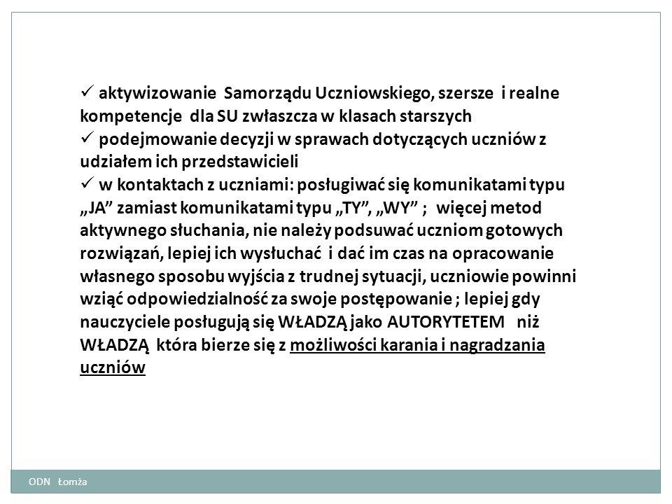 aktywizowanie Samorządu Uczniowskiego, szersze i realne kompetencje dla SU zwłaszcza w klasach starszych