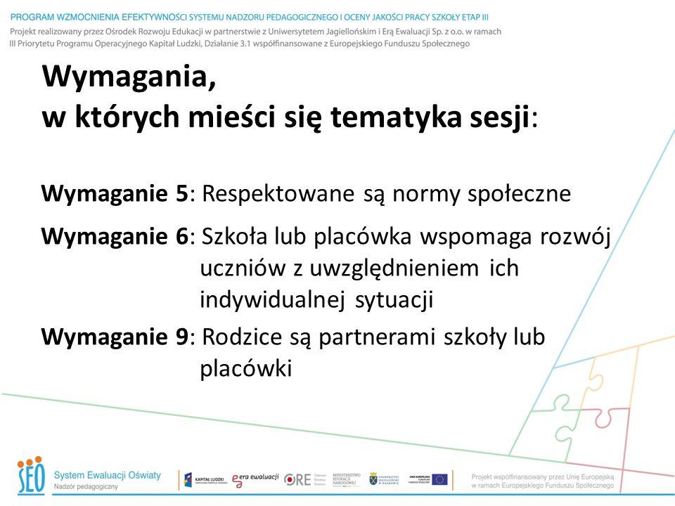 Wymagania, w których mieści się tematyka sesji: