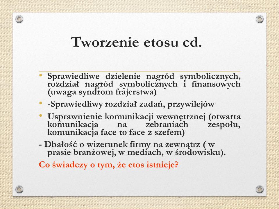 Tworzenie etosu cd. Sprawiedliwe dzielenie nagród symbolicznych, rozdział nagród symbolicznych i finansowych (uwaga syndrom frajerstwa)