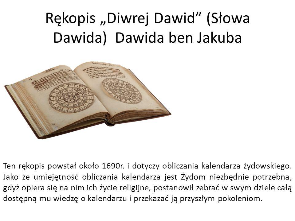 """Rękopis """"Diwrej Dawid (Słowa Dawida) Dawida ben Jakuba"""