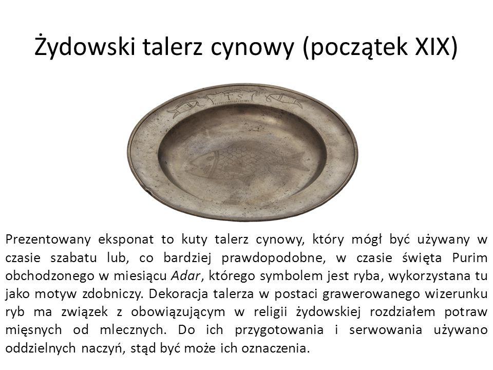 Żydowski talerz cynowy (początek XIX)