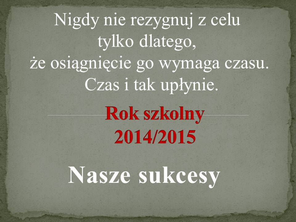 Nasze sukcesy Rok szkolny 2014/2015 Nigdy nie rezygnuj z celu