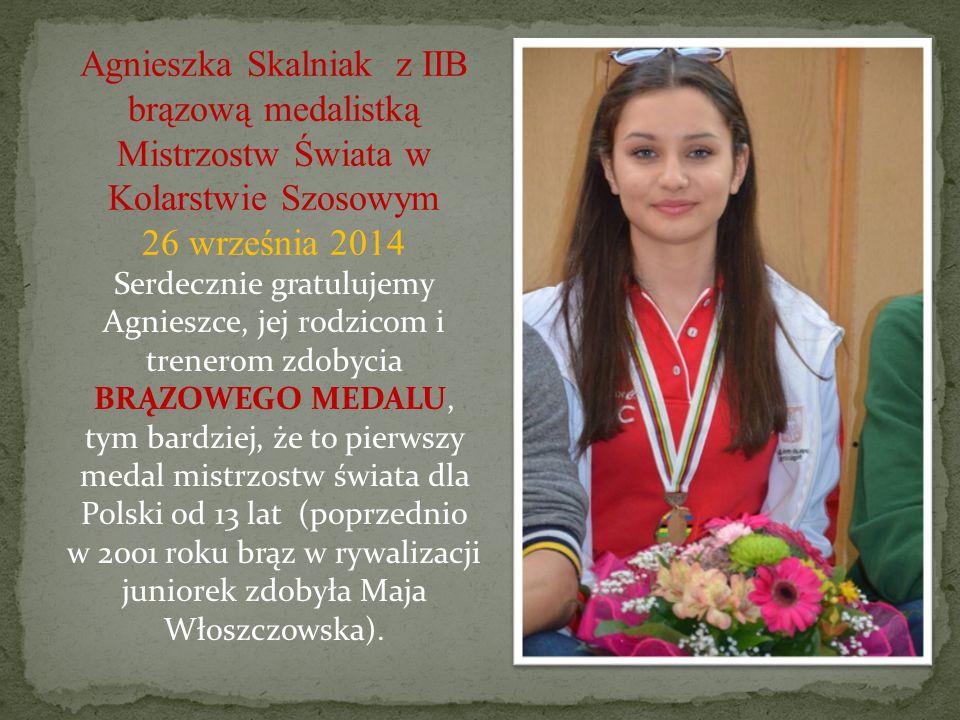 Agnieszka Skalniak z IIB brązową medalistką Mistrzostw Świata w Kolarstwie Szosowym