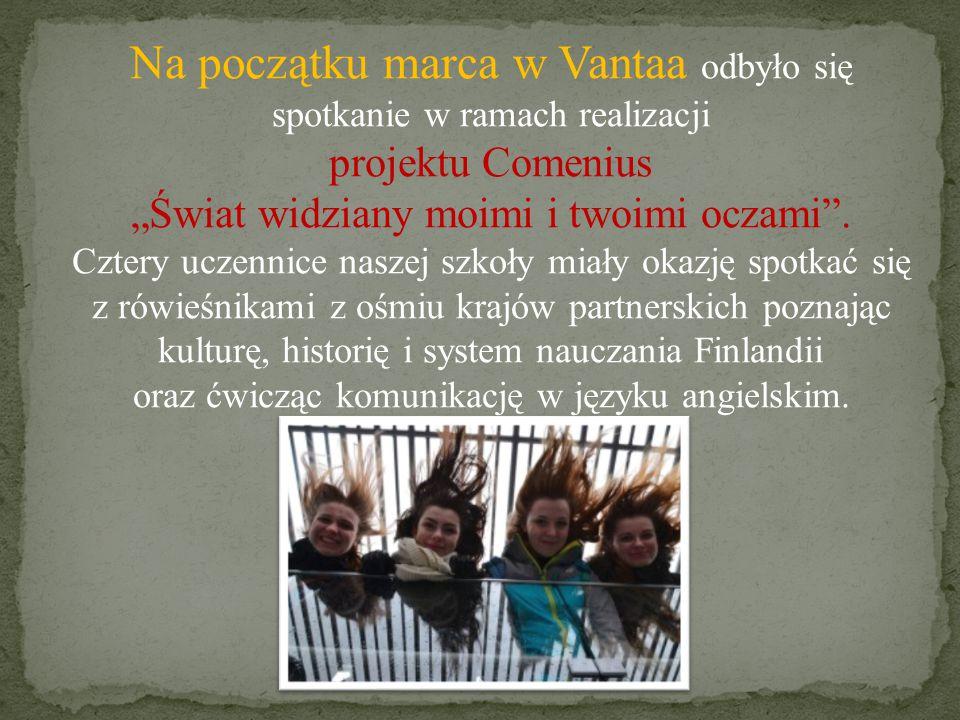 """Na początku marca w Vantaa odbyło się spotkanie w ramach realizacji projektu Comenius """"Świat widziany moimi i twoimi oczami ."""