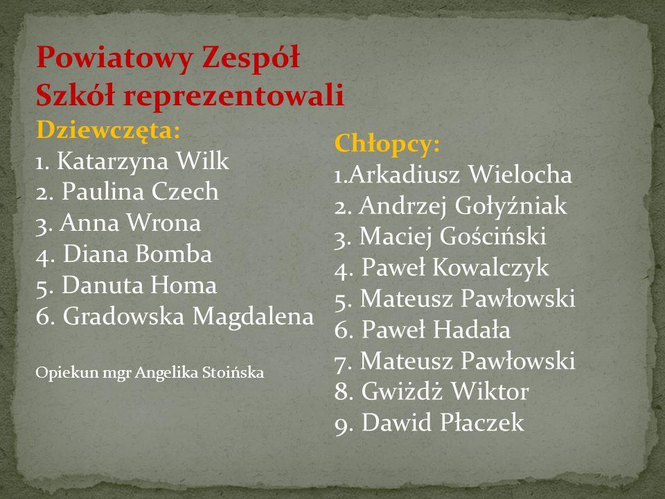 Powiatowy Zespół Szkół reprezentowali Dziewczęta: 1. Katarzyna Wilk 2