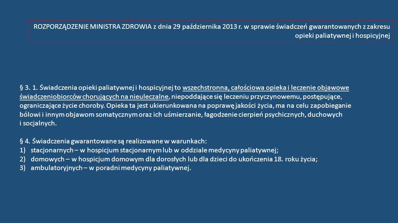 ROZPORZĄDZENIE MINISTRA ZDROWIA z dnia 29 października 2013 r