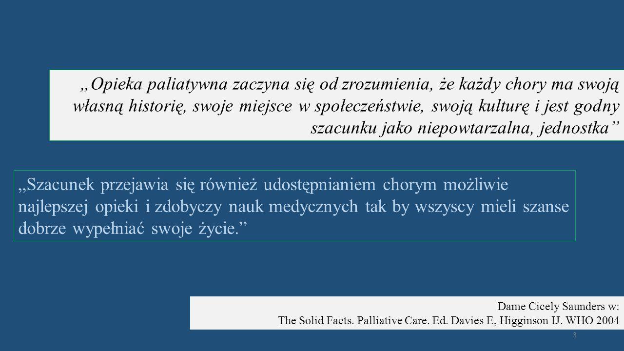 """""""Opieka paliatywna zaczyna się od zrozumienia, że każdy chory ma swoją własną historię, swoje miejsce w społeczeństwie, swoją kulturę i jest godny szacunku jako niepowtarzalna, jednostka"""