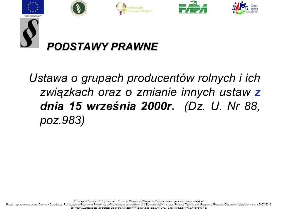 PODSTAWY PRAWNE Ustawa o grupach producentów rolnych i ich związkach oraz o zmianie innych ustaw z dnia 15 września 2000r. (Dz. U. Nr 88, poz.983)